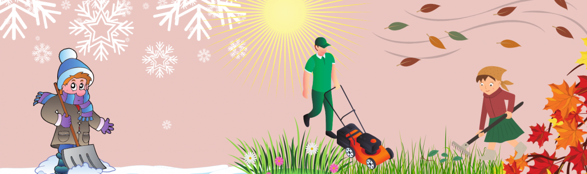 Altmuligmannen i Tromsø snømåking måke snø hagearbeid gressklipping snøfri vinter høst animasjon